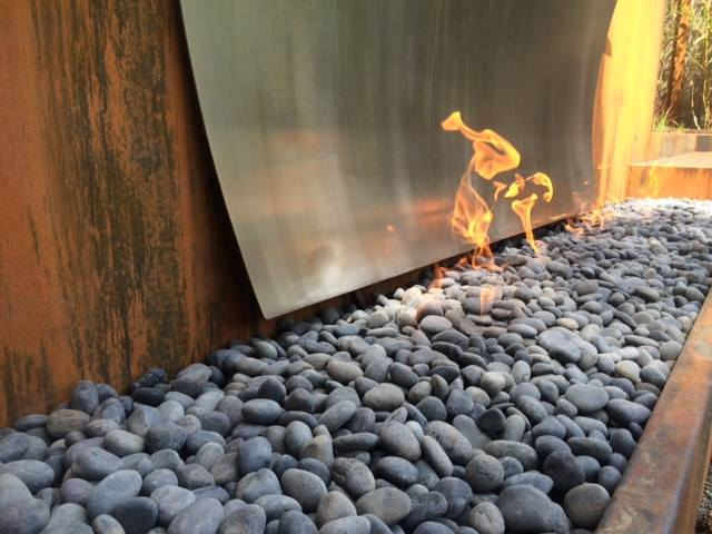 Large Custom Corten and Stainless Fireplace Detail