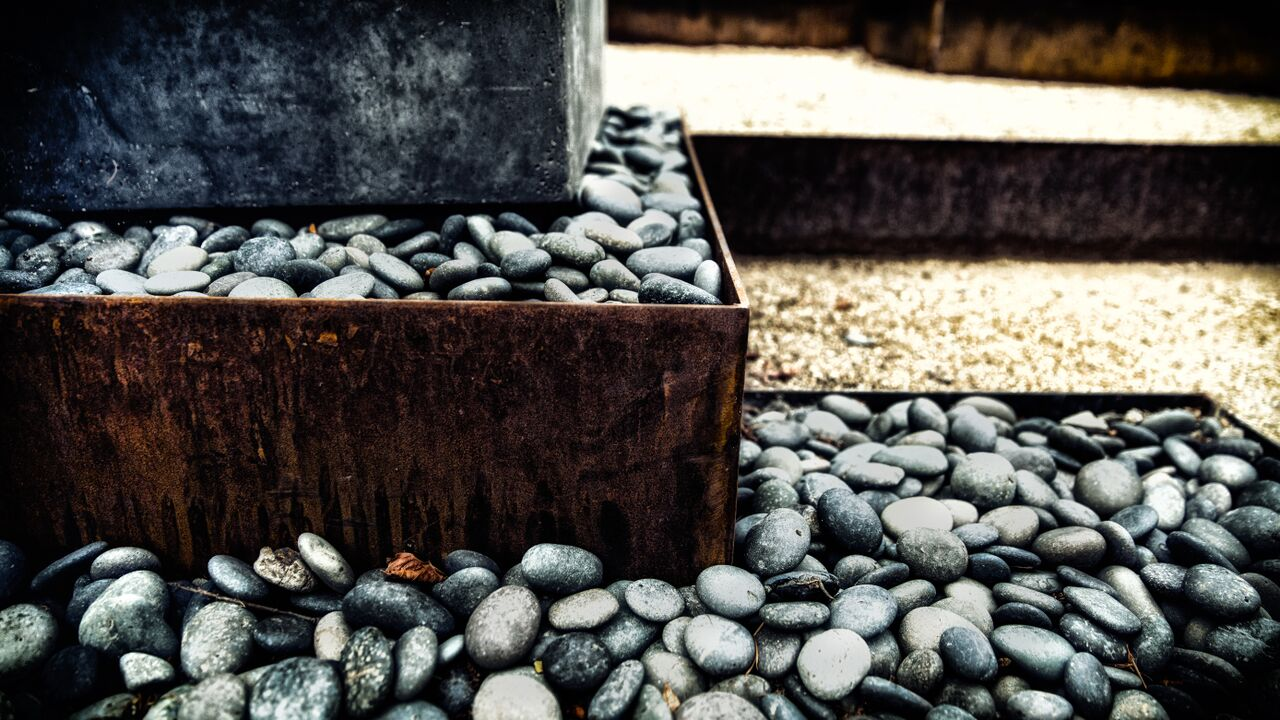 Rusted Mild Steel Planter with Sealed Mexican Pebble