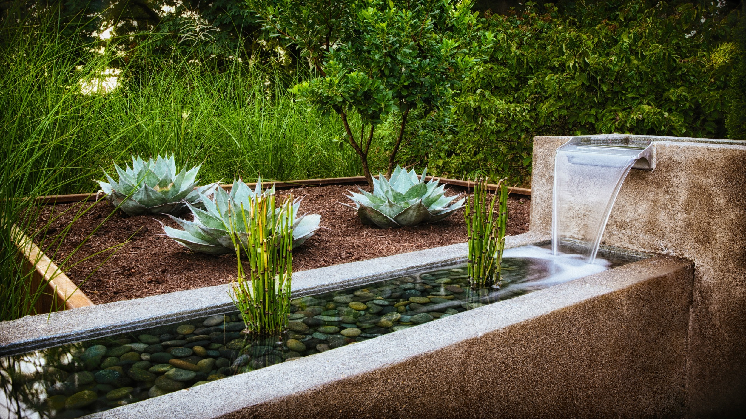 Concrete Water Feature with Spillways, Reeds, and River Rock
