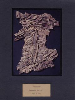 """A model of one of the works of public art Polly created which now hangs in BP Headquarters in Anchorage, called """"Thrust""""."""