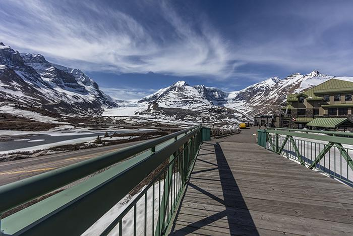 A bridge with a view at the Icefield Centre, Jasper National Park