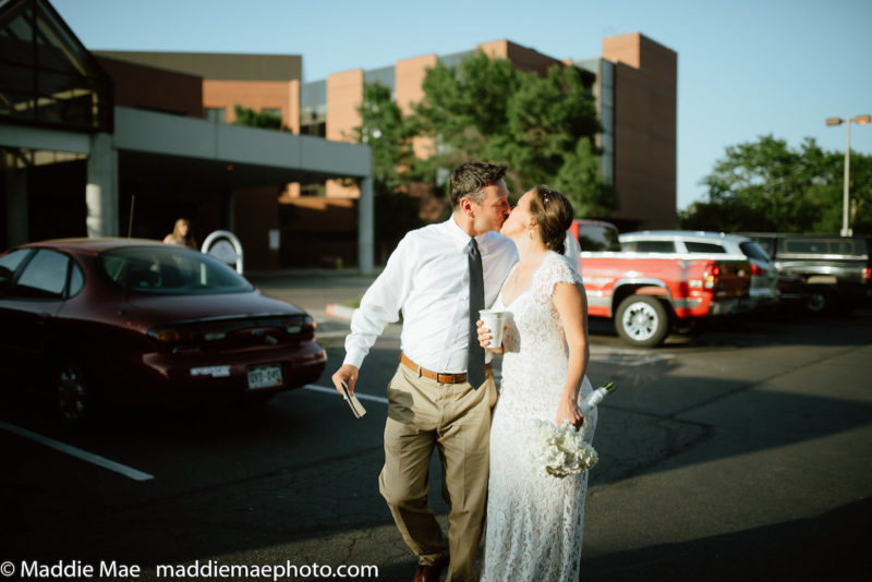 Finally leaving the hospital for their wedding reception!