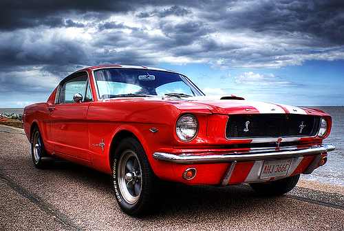 """Ford Mustang on Felixstowe Beach"" by  Steve Arnold"