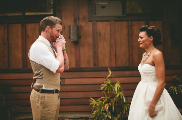We love the emotion this groom is showing as he sees his bride for the first time on their wedding day! This is the perfect example of wonderful emotion captured by the photographer, Andria Lindquist. We found this photo on  SnapKnot .