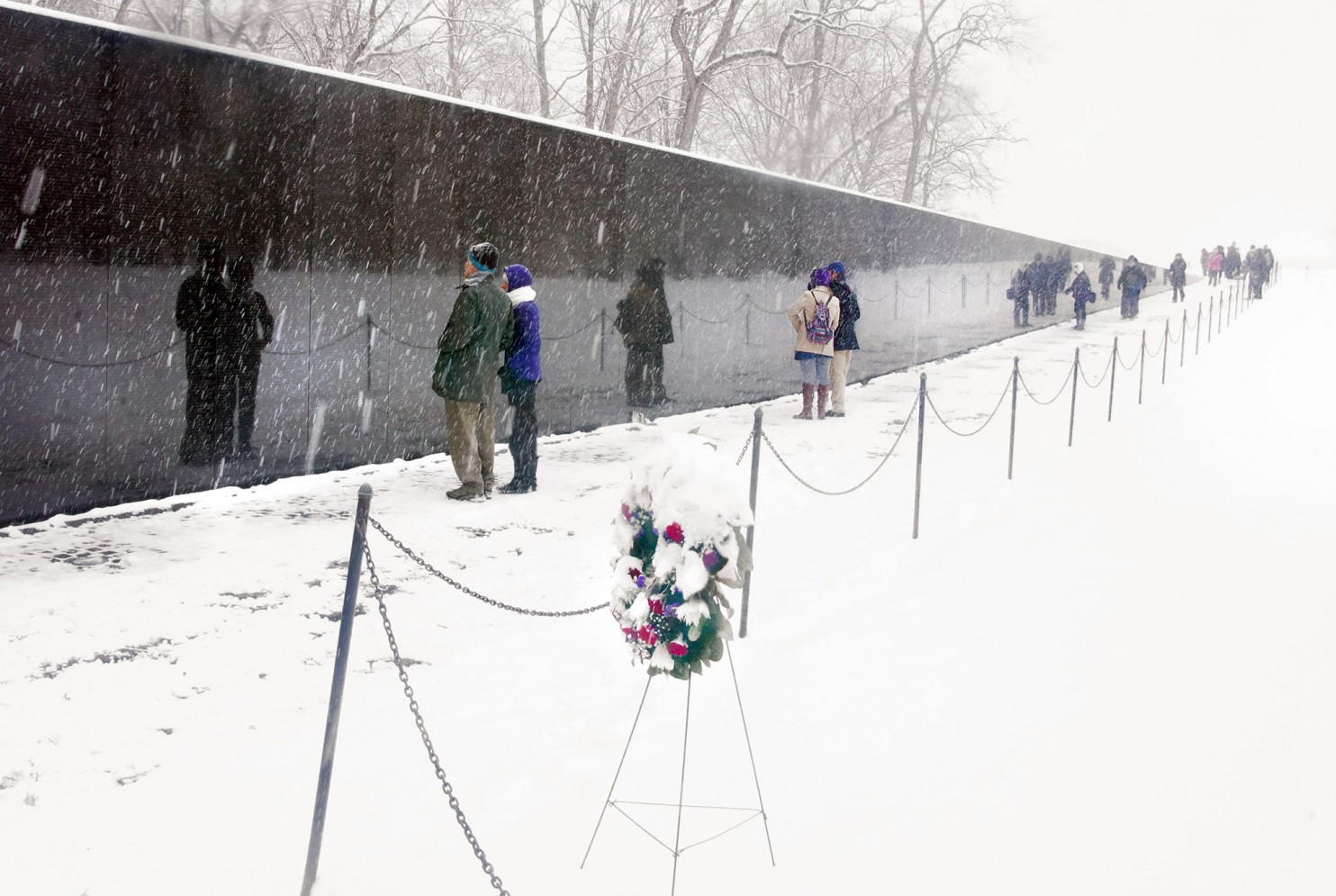 The Vietnam Veterans Memorial with heavy snow, February 15, 2016. Photo credit: Kevin Ambrose