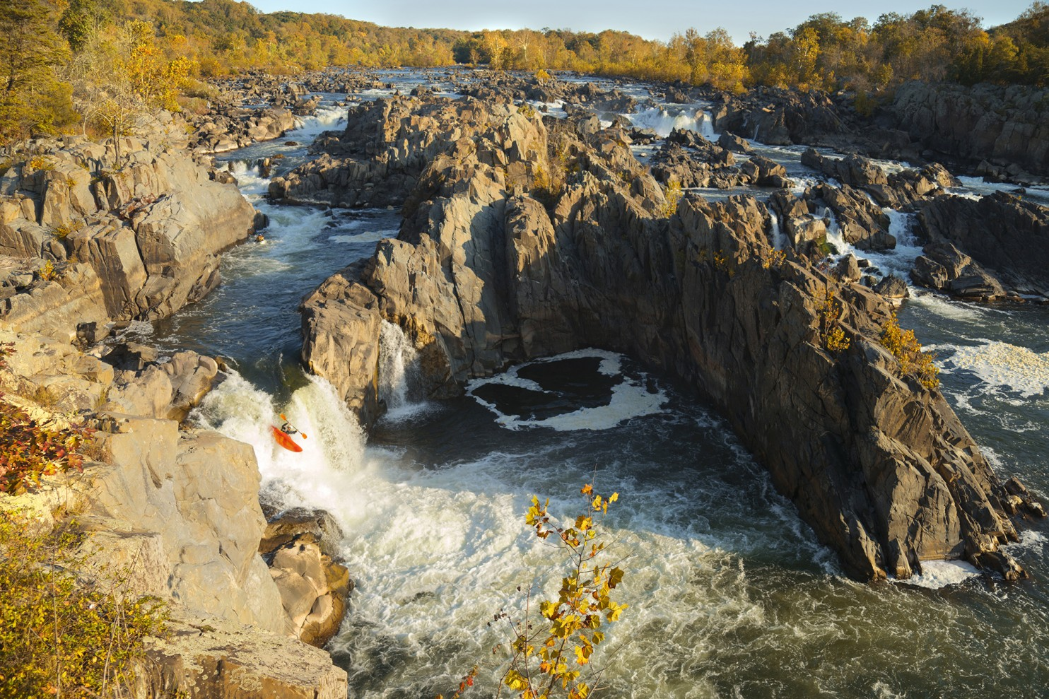 Kayaking Great Falls during autumn, October 23, 2016. Photo credit: Kevin Ambrose