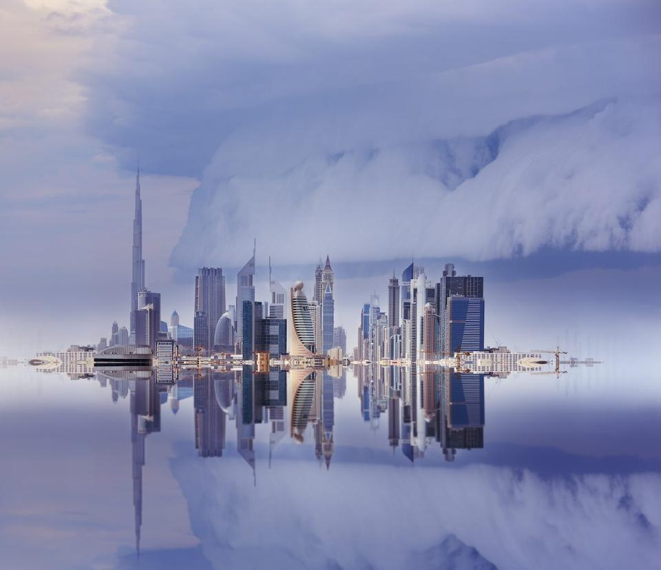 Dubai skyline in an approaching storm.Photo credit: iStock via Forbes