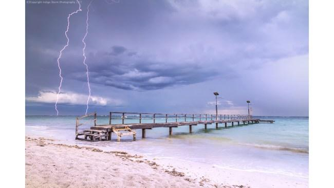 Horrocks Beach in the early afternoon as severe storms tracked south from Port Gregory over Horrocks and south towards Geraldton. Picture: Kylie Gee - Indigo Storm Photography