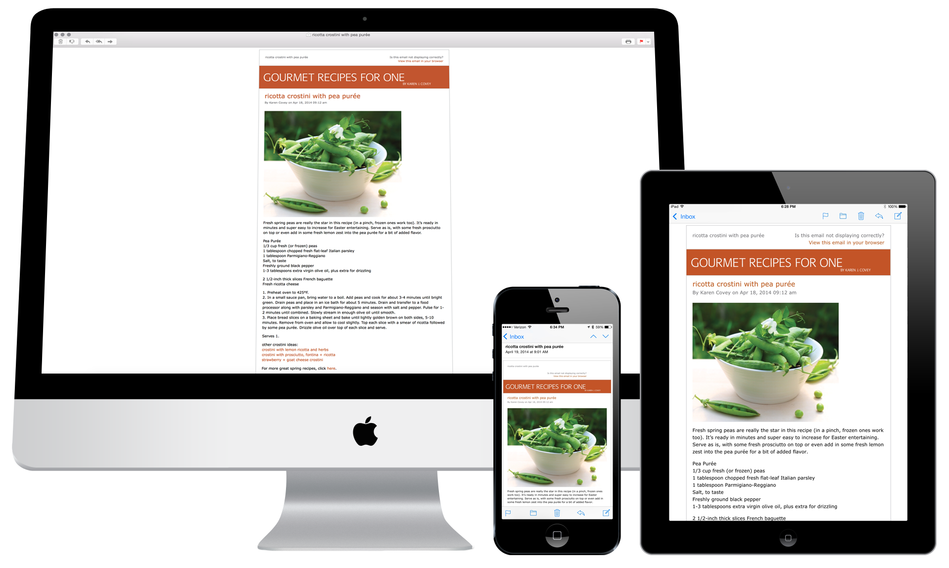 Gourmet Recipes For One - eMail Campaign