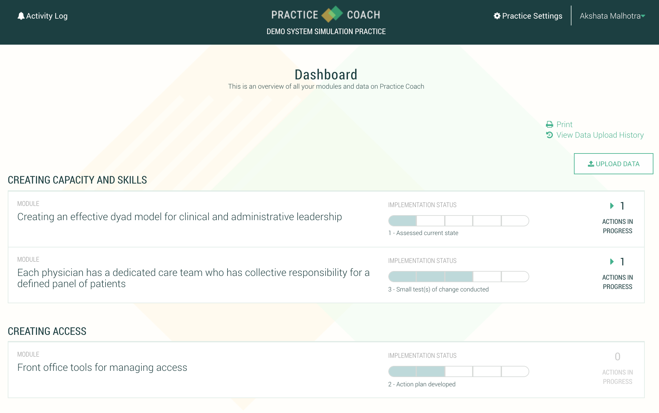 Evidence Based Content Distribution   The Peterson Center on Healthcare evidence-based content is distributed via PracticeCoach, and modules are made available to practices based on their goals and priorities