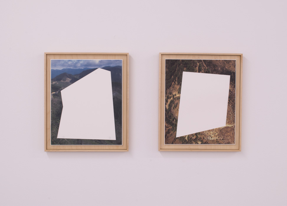 """Clearcut/Handcut (1&2) , 2014  collage on paper in maple frame.      11""""x 14"""" framed"""