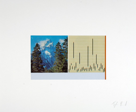 Mountain vs. Chart,  2013  collage on paper.18 x 21.5 inches