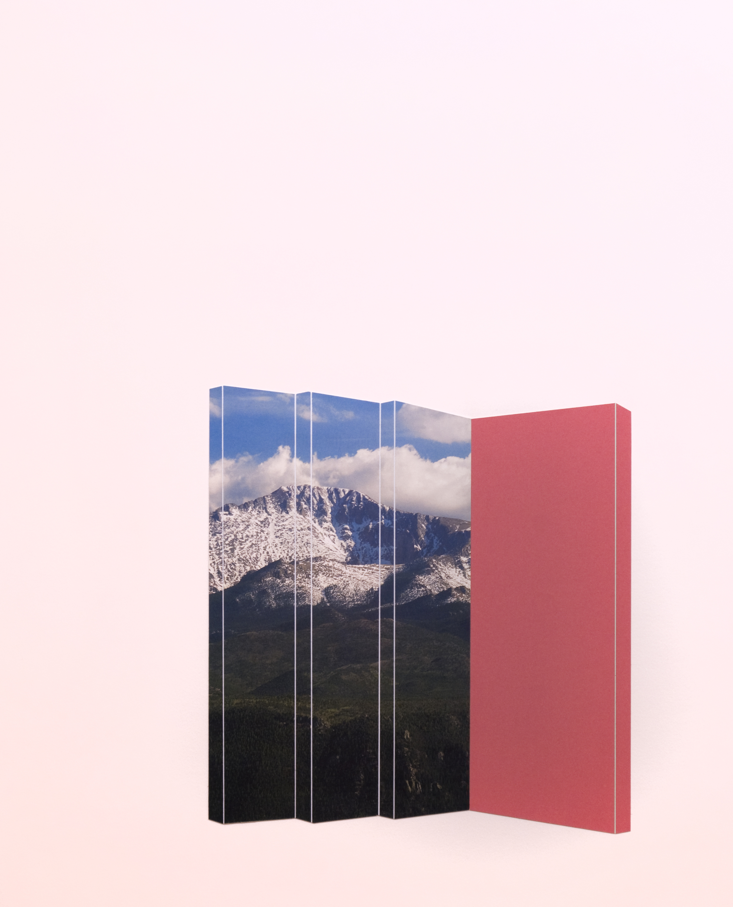 Mountains With Pale Red,  2015  23 x 18.5 inches  Collage on paper