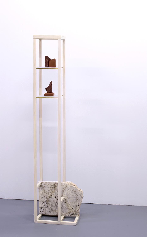 Just Beyond Tree Line, 2016  53 x 13 x 7 inches  wood, granite, ceramic, brass rod, and plexi-glass