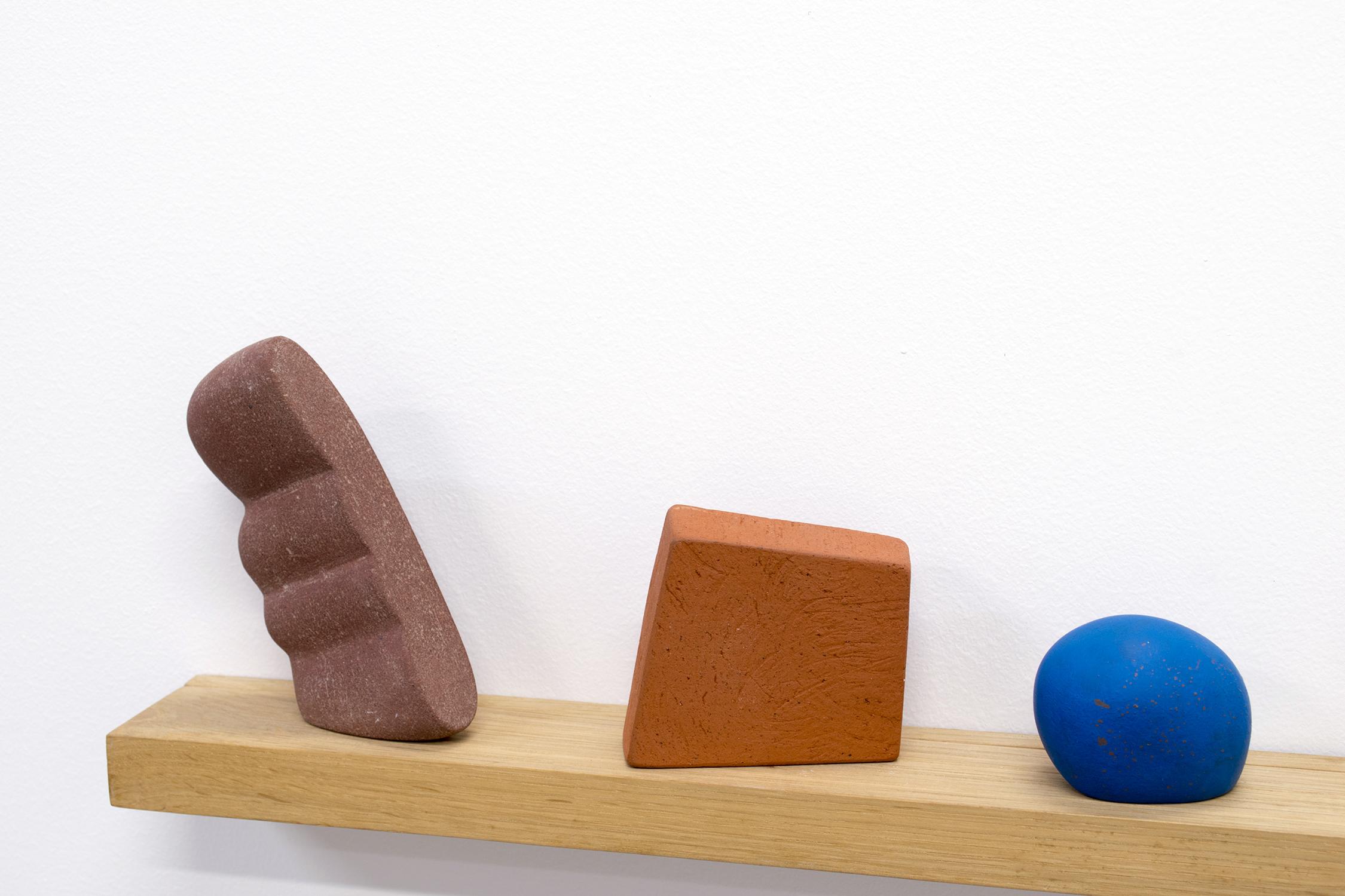 Three & Three, 2017  7 x 32 x 3 inches  ceramic, wood, epoxy putty, sand, and gouache