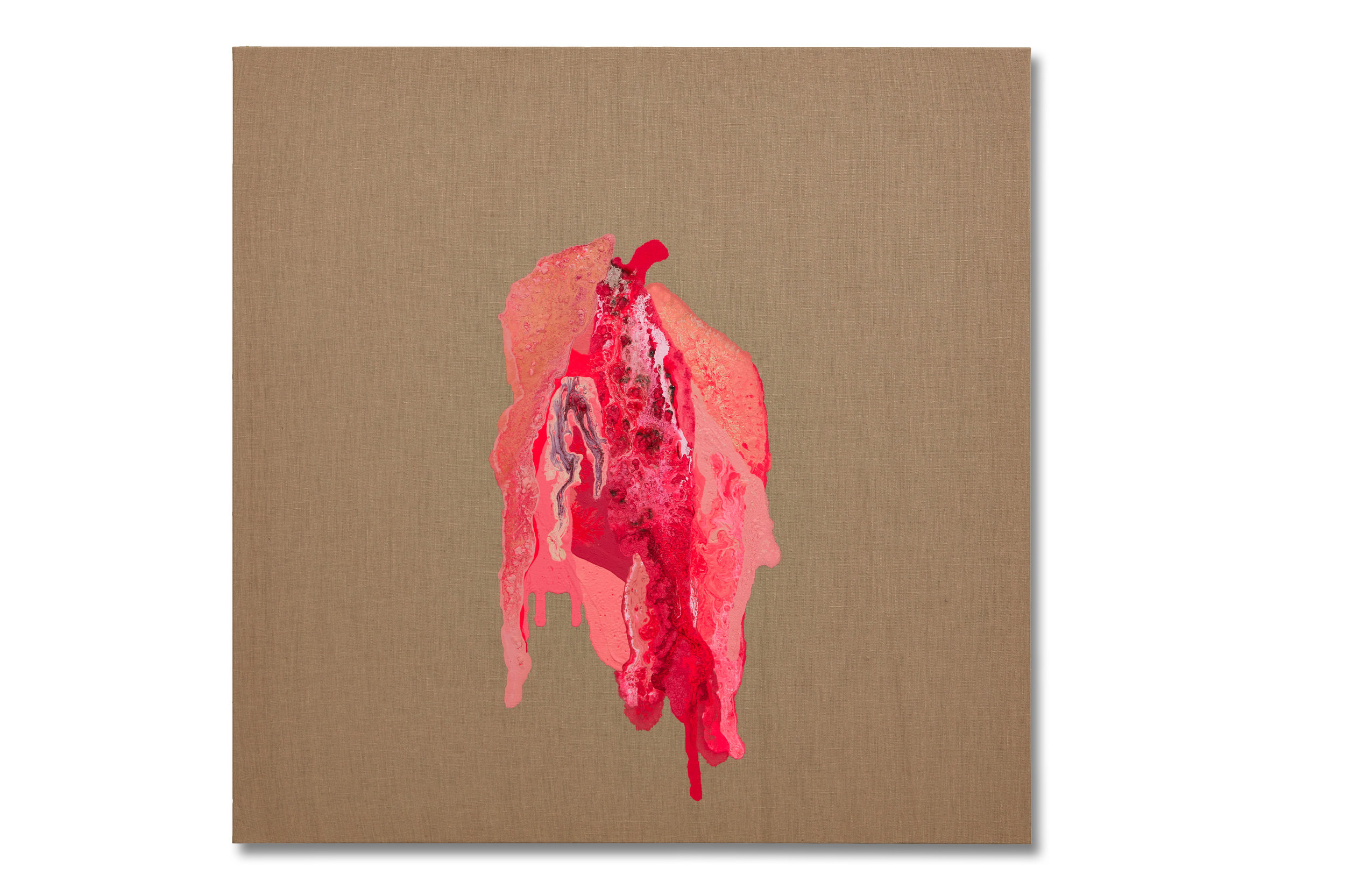 """""""Don't Touch Me""""  36x36 - acrylic/acrylic inks and blood on partially primed linen"""