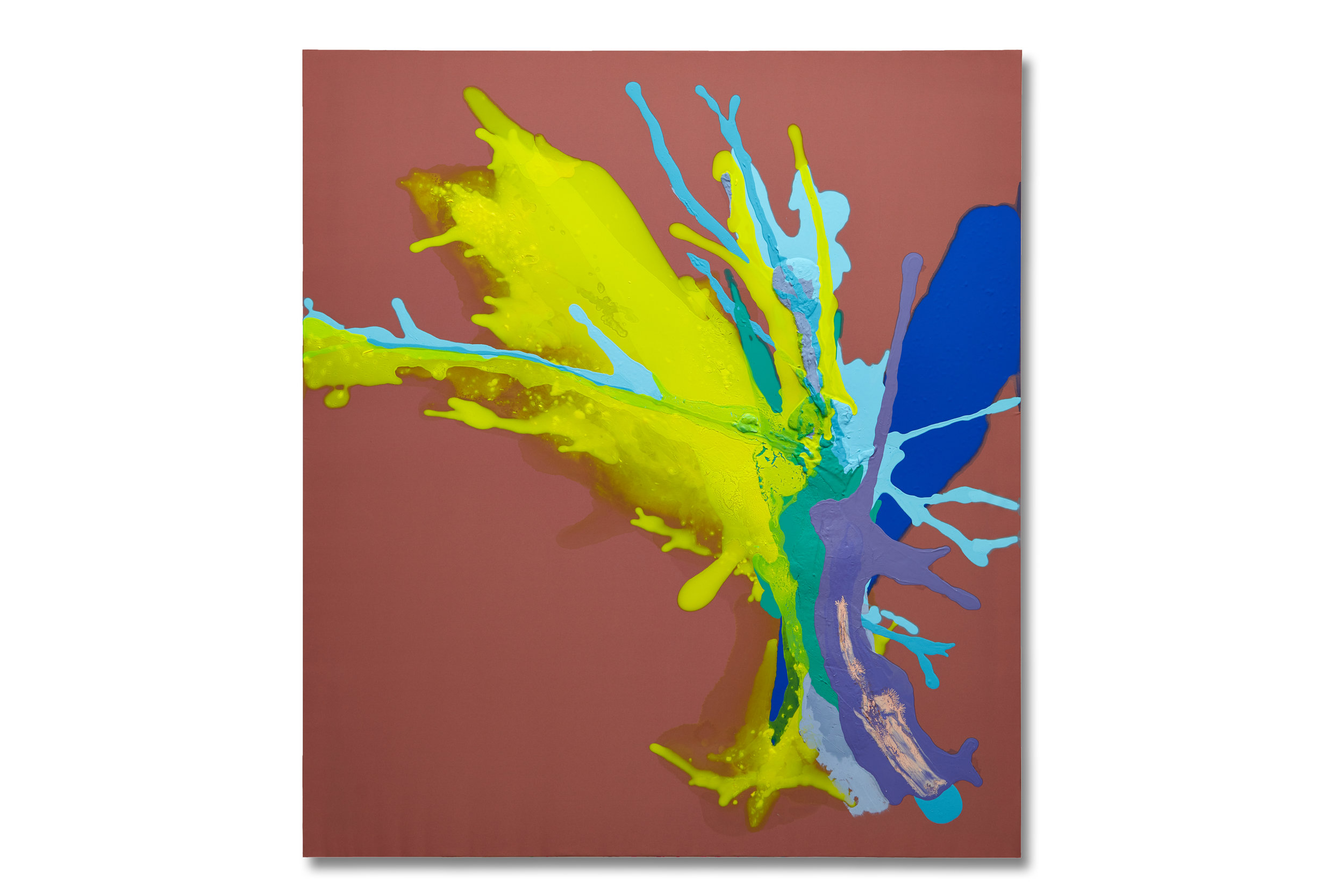 """Fucking Fly""  48x54 - acrylic/acrylic inks and plaster of paris on unprimed silk crêpe"