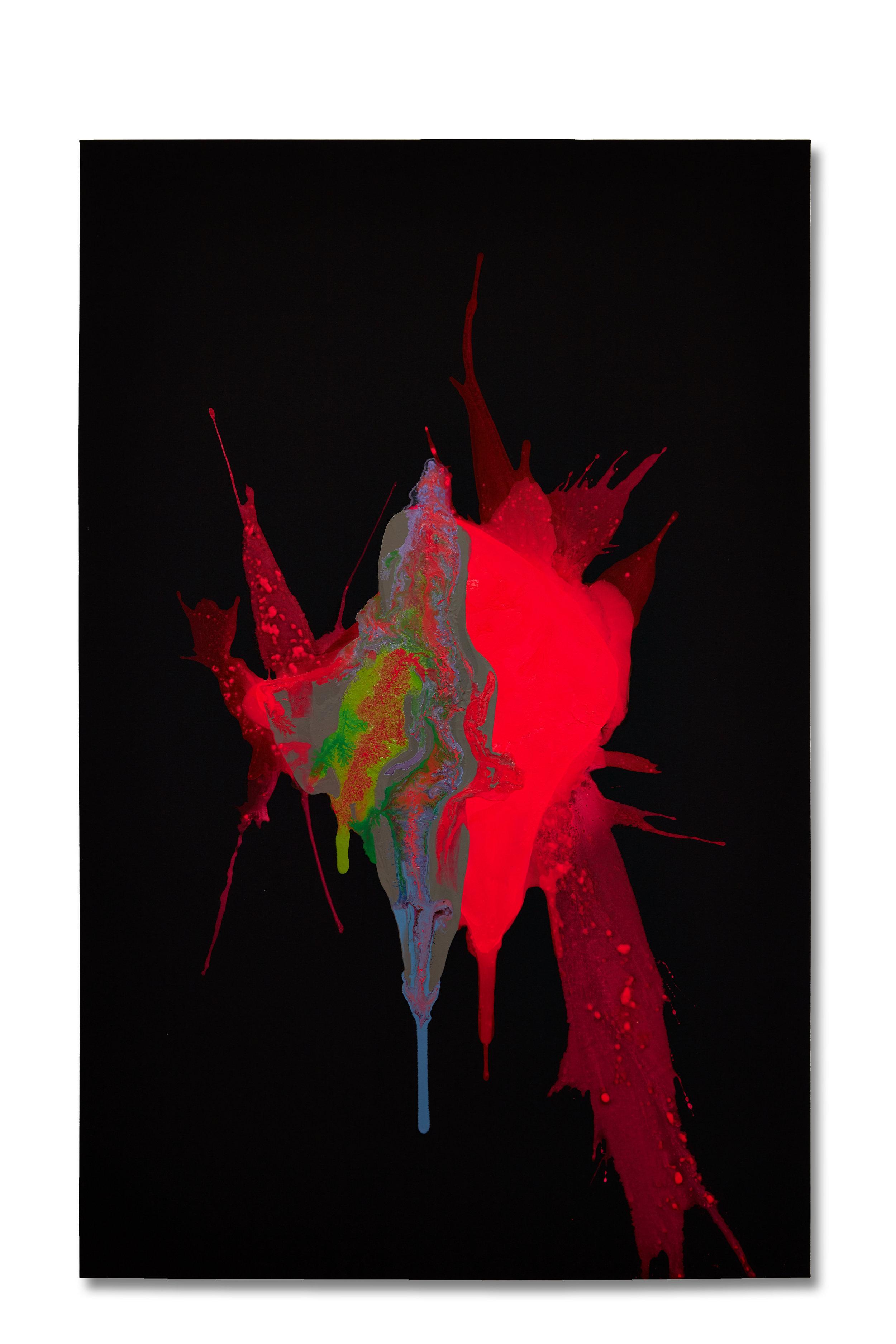 """Murder""  54x84 - acrylic/acrylic inks on partially primed black canvas"