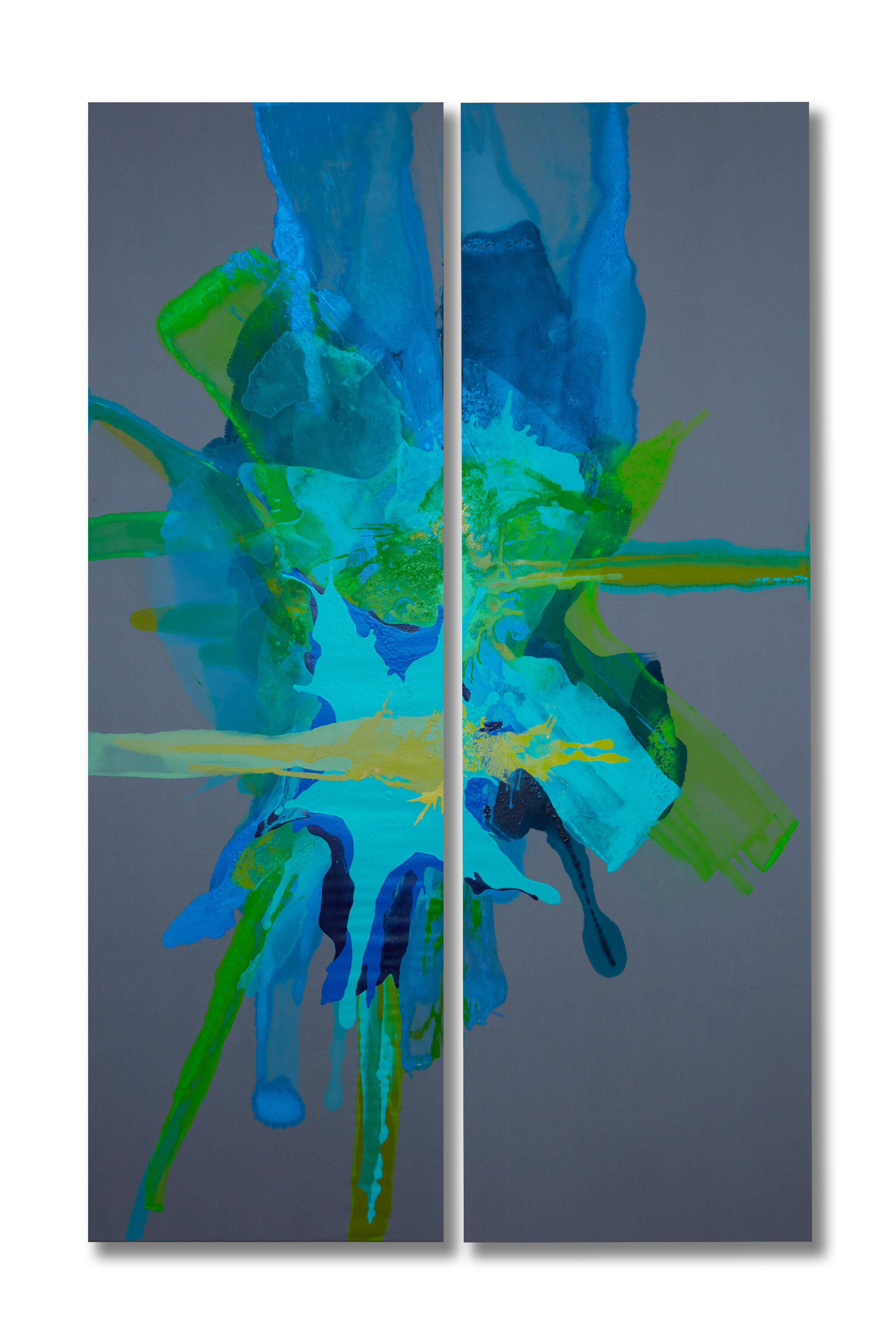 """""""Florescence""""  84x26 - acrylic/acrylic inks on partially primed polyester cotton"""