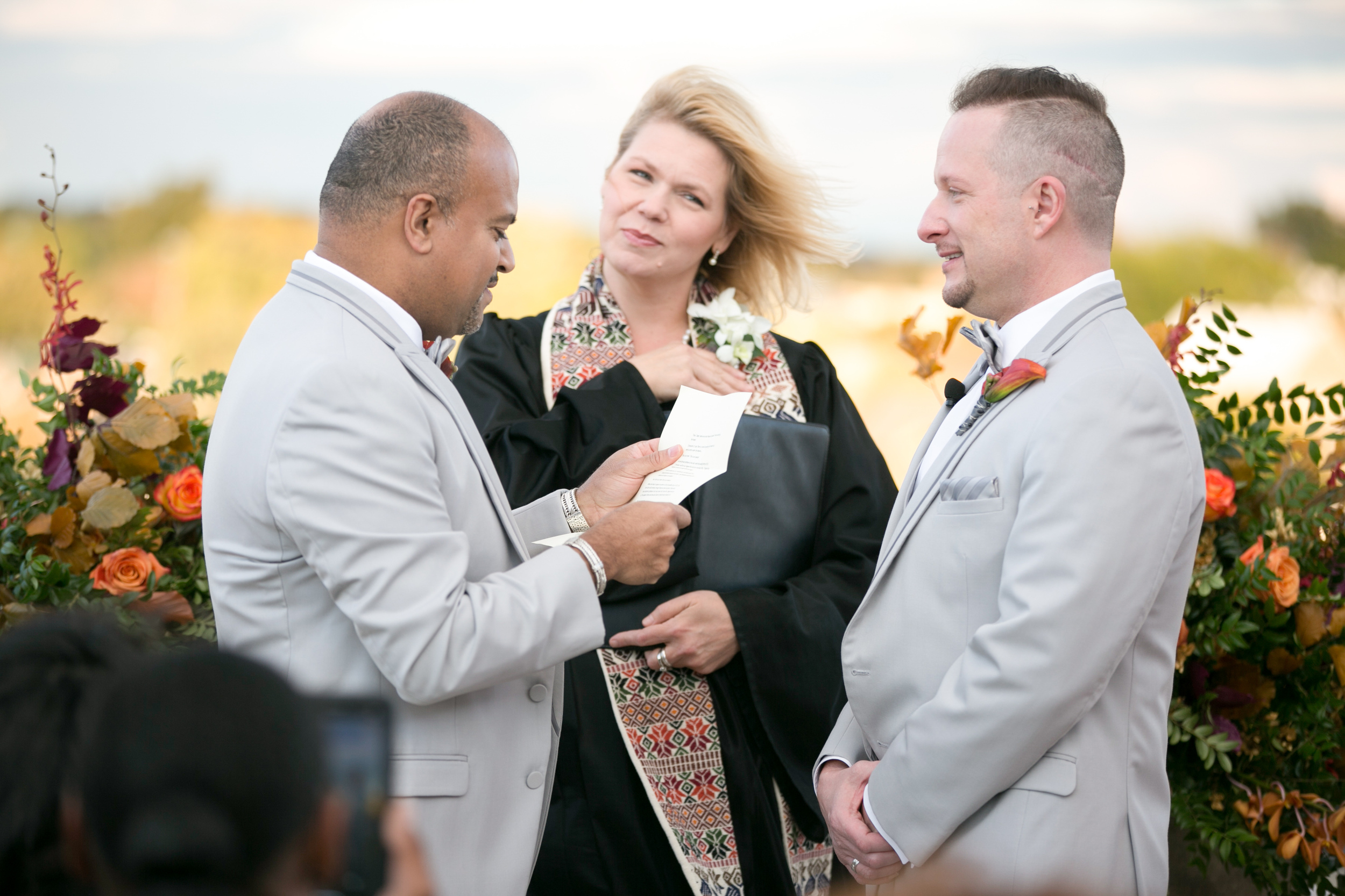 On a windswept rooftop in Alexandria, VA, my grooms Dan & Tom!