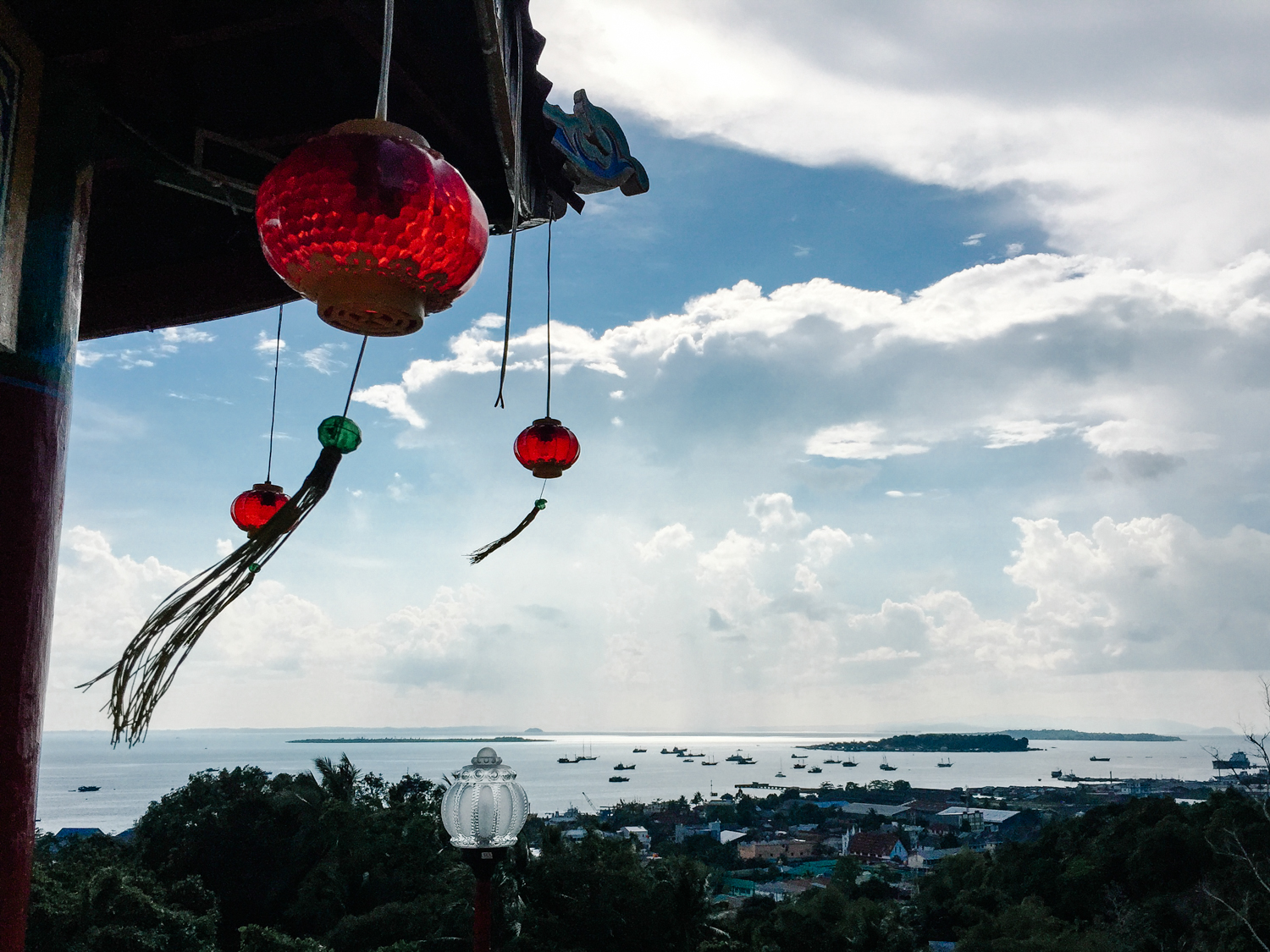 Panoramic view of the ocean from a Buddhist temple on top of the mountain in Sorong.