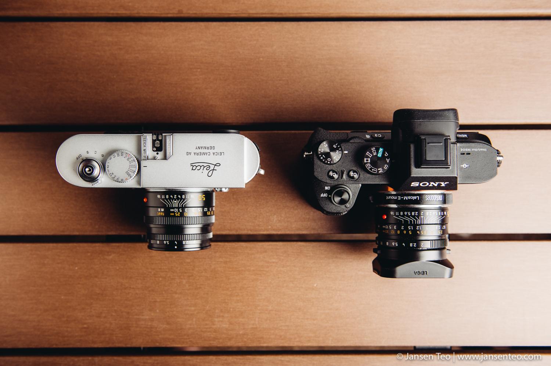 Top view comparison, Leica M9-P vs. Sony A7ii
