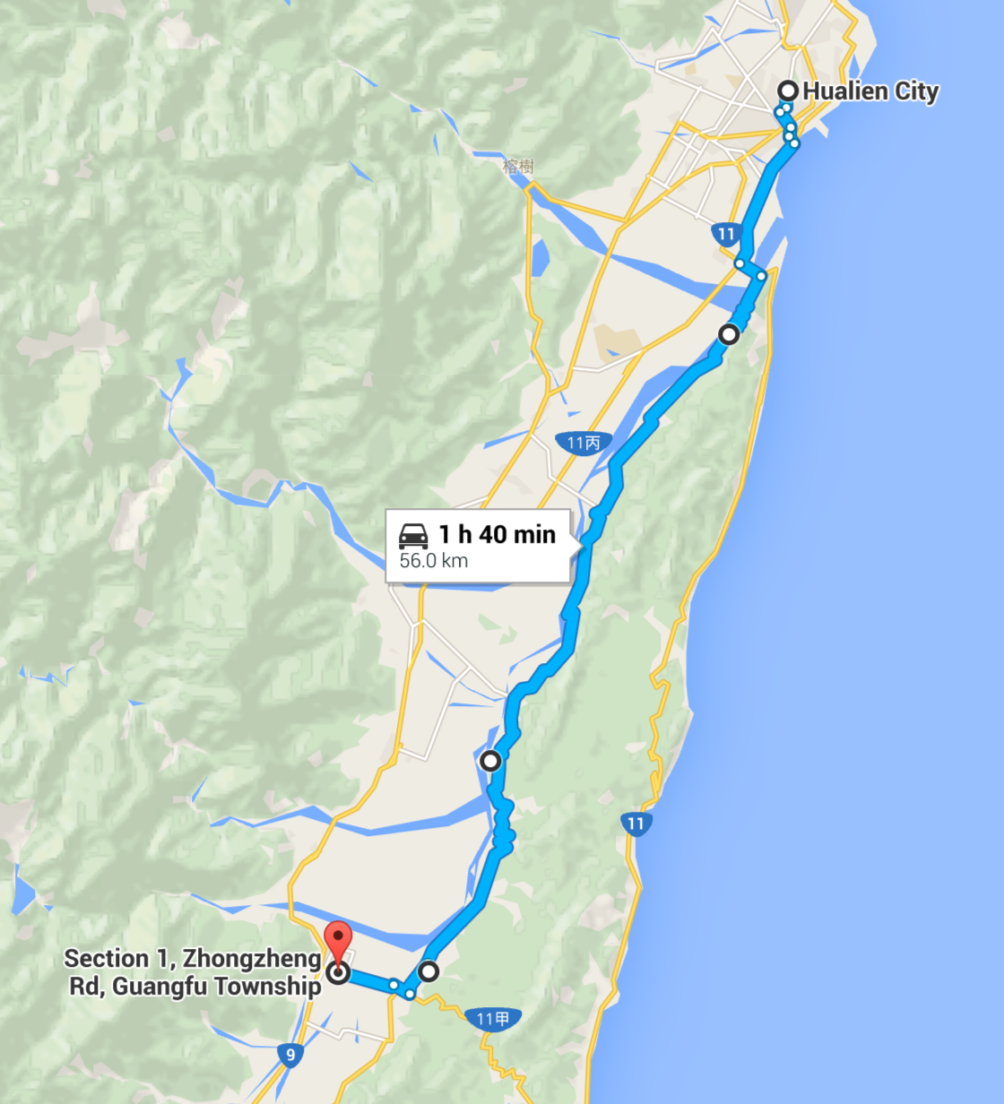 1. Hualien to Guangfu Google Map.png
