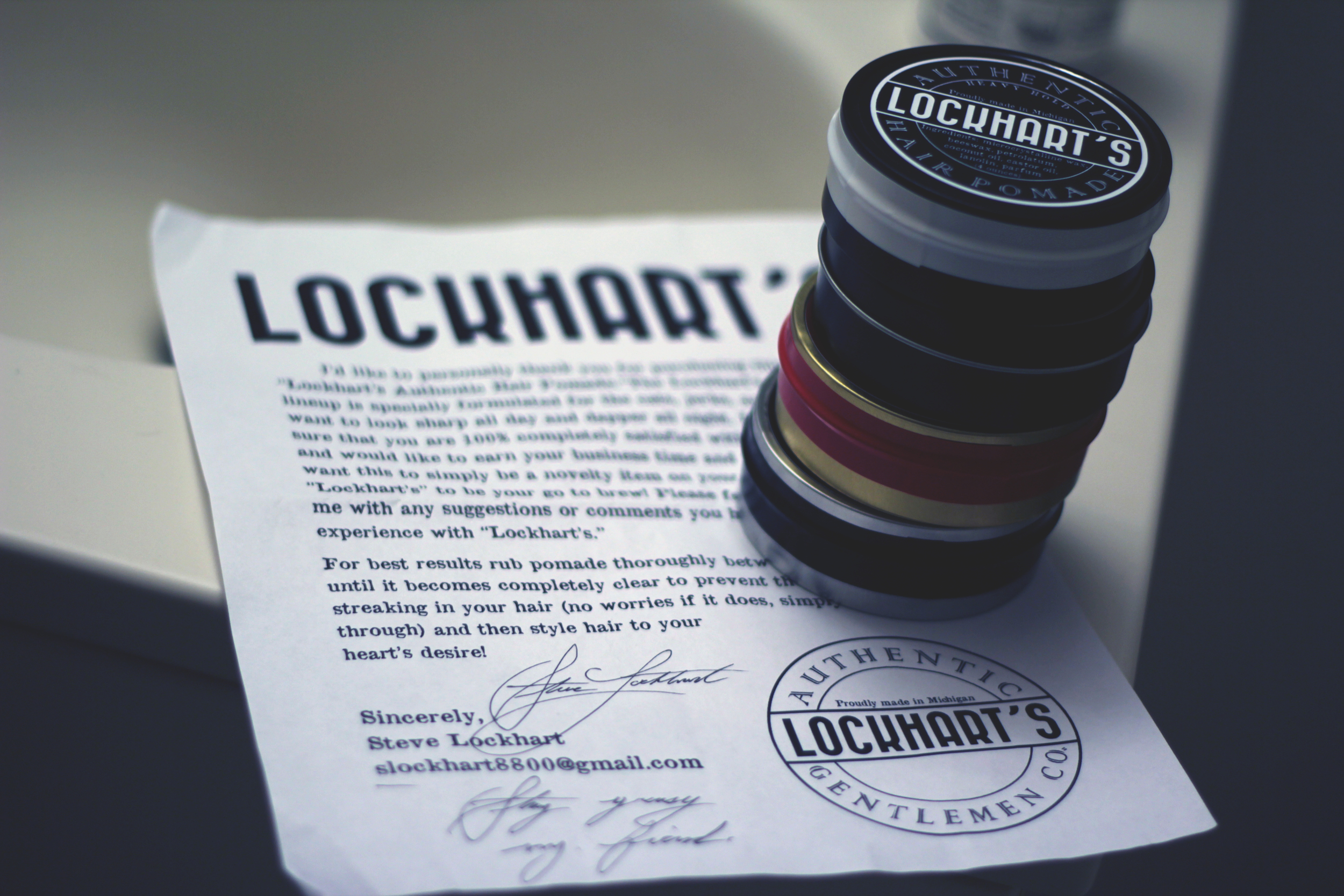 Lockhart's Authentic Hair Pomade jars