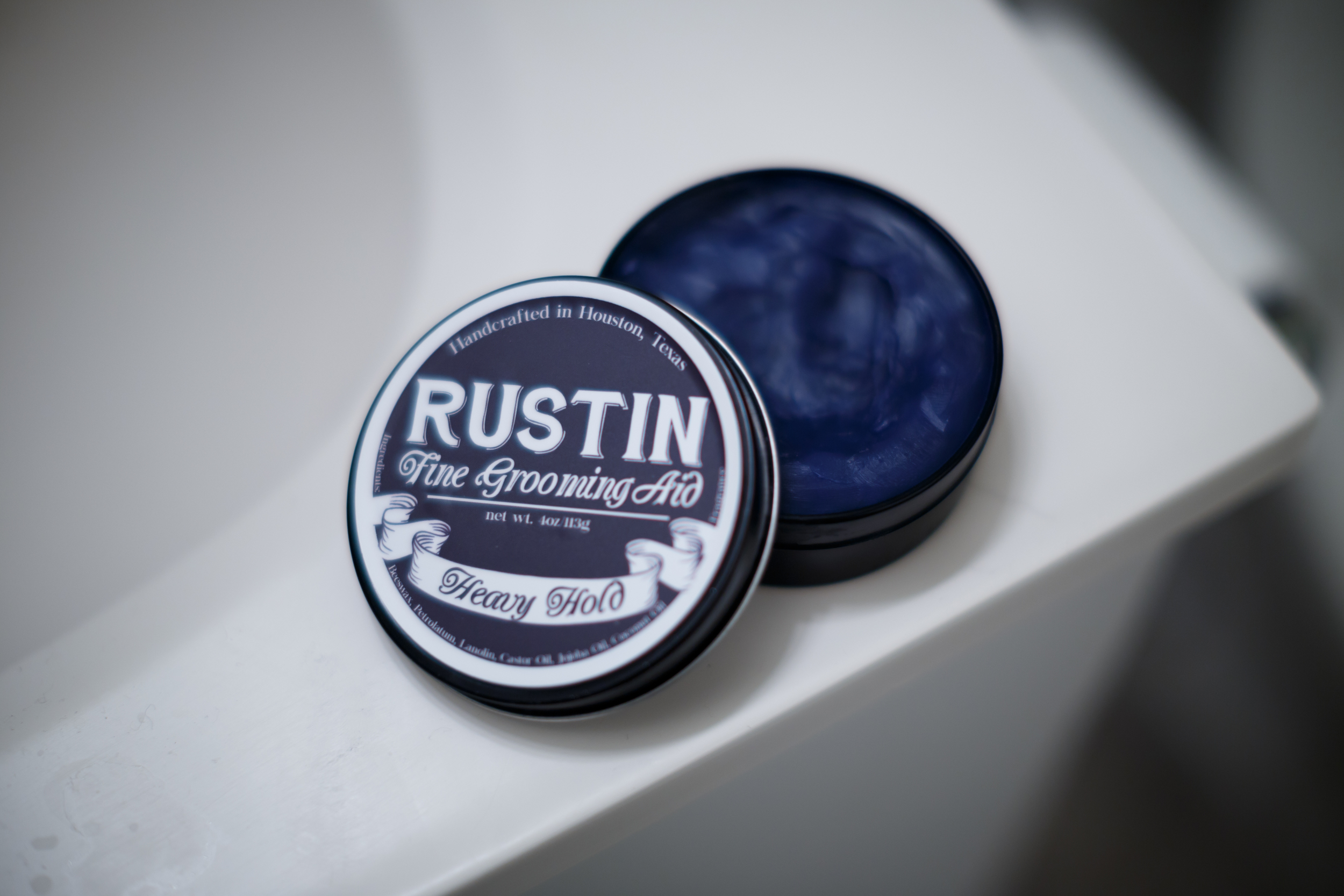 Rustin Heavy Hold Pomade Tin Can Jar Inside Color