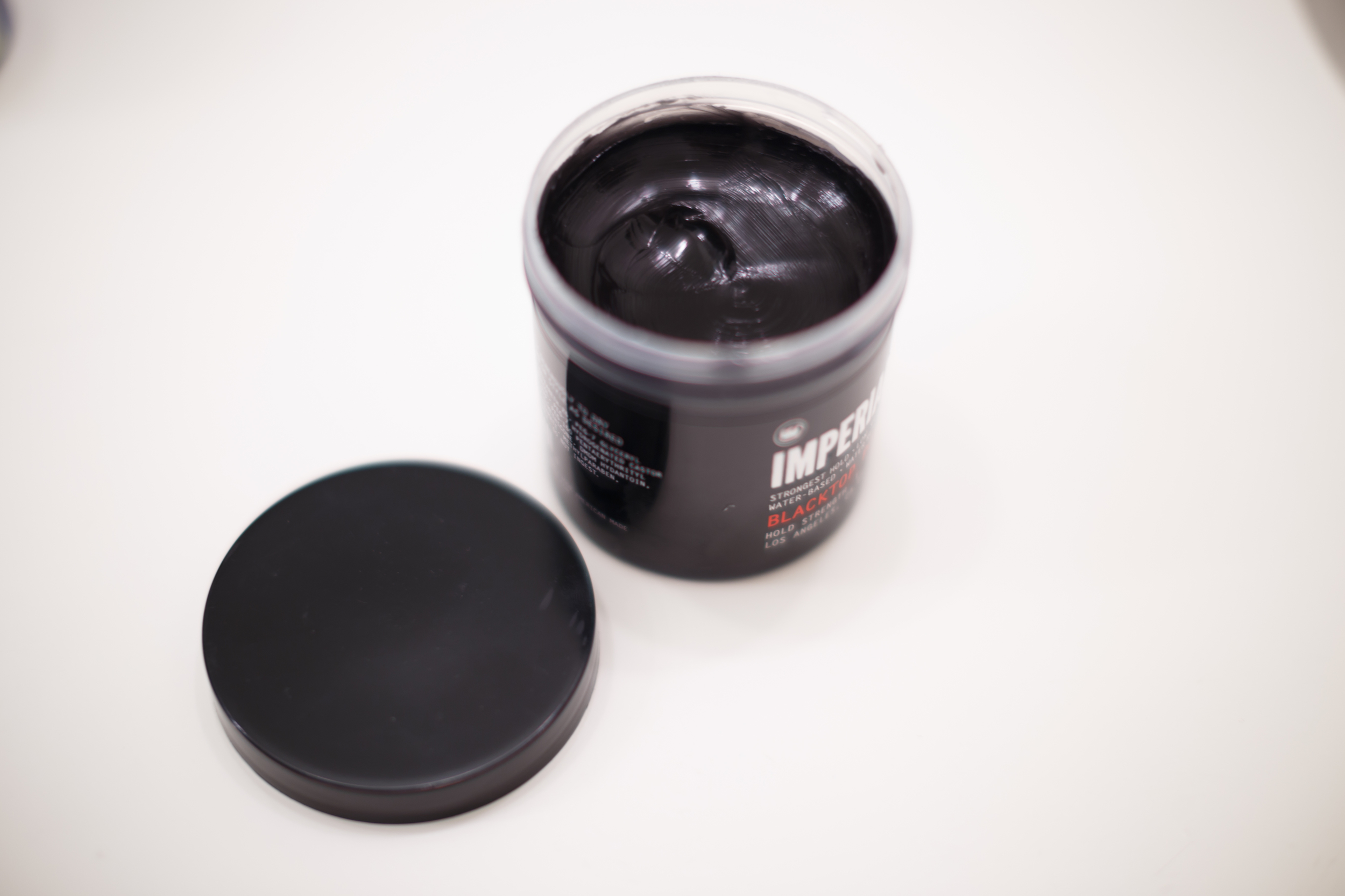 Imperial Blacktop Pomade Water-Based Water Based Barber Products Classic Pomp ThePomp Pompadour Open Dark