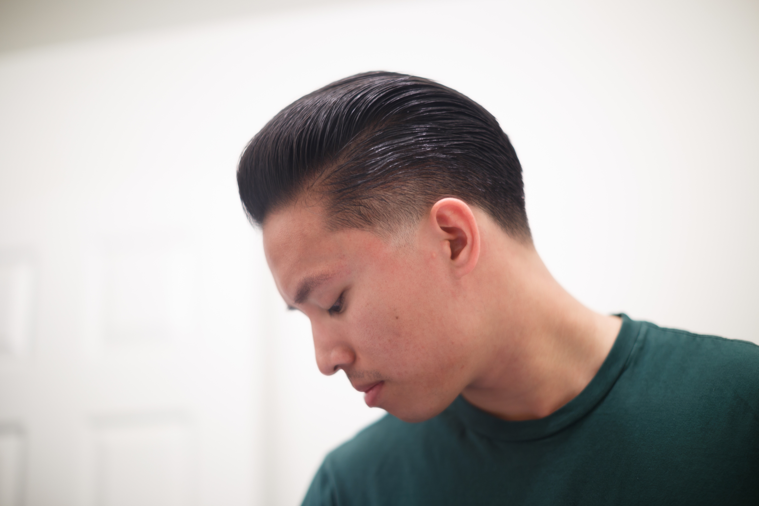 Low Mid Taper Fade Hairstyle Haircut Barber Barbershop ThePomp Pomp Pomade Pompadour The Iron Society Water Soluble New York Jar