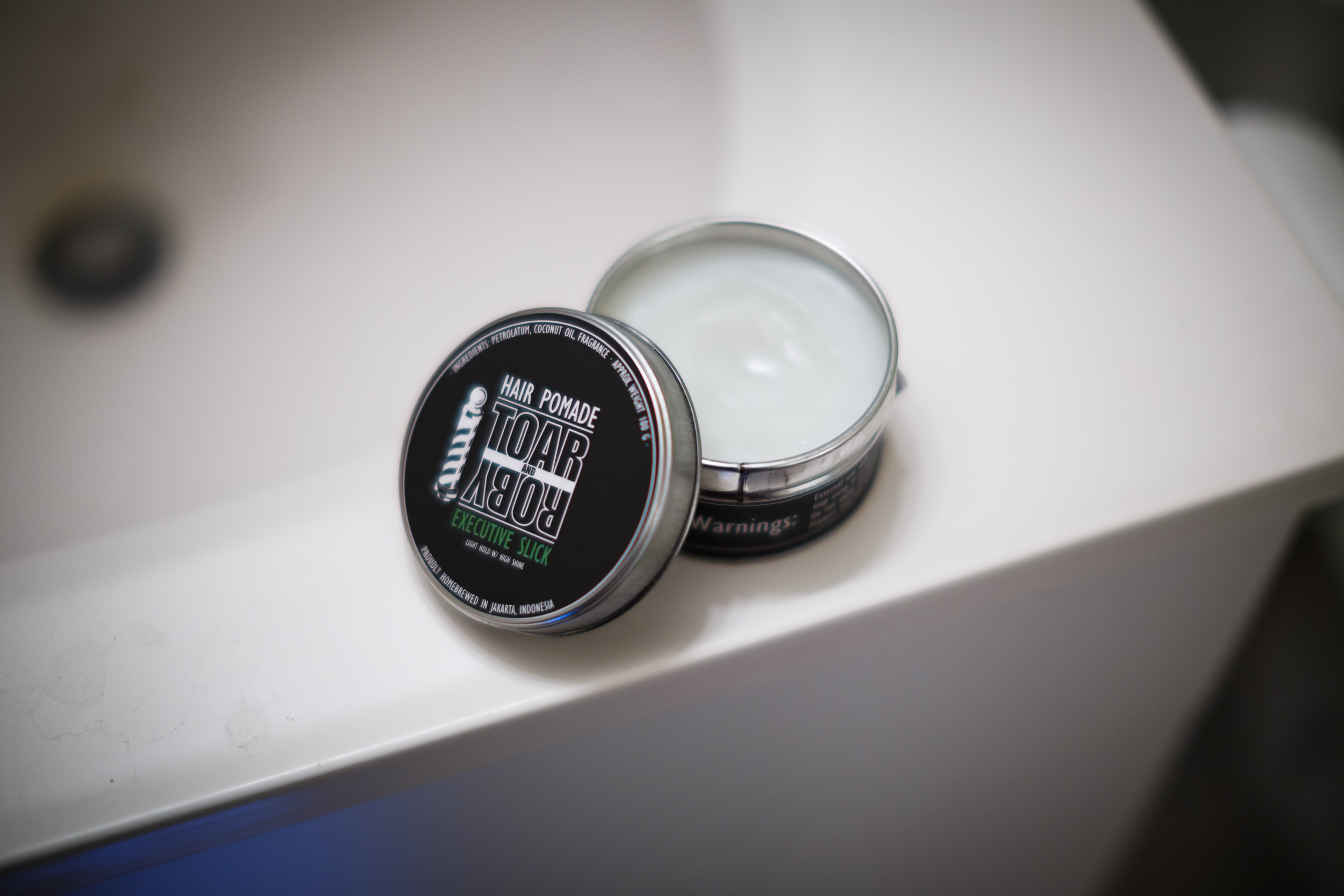 Toar and Roby Executive Slick Hair Pomade The Pomp Pompadour Oil-Based Oil Based Grease Light Hold High Shine Jar Tin Can Opened Product Inside