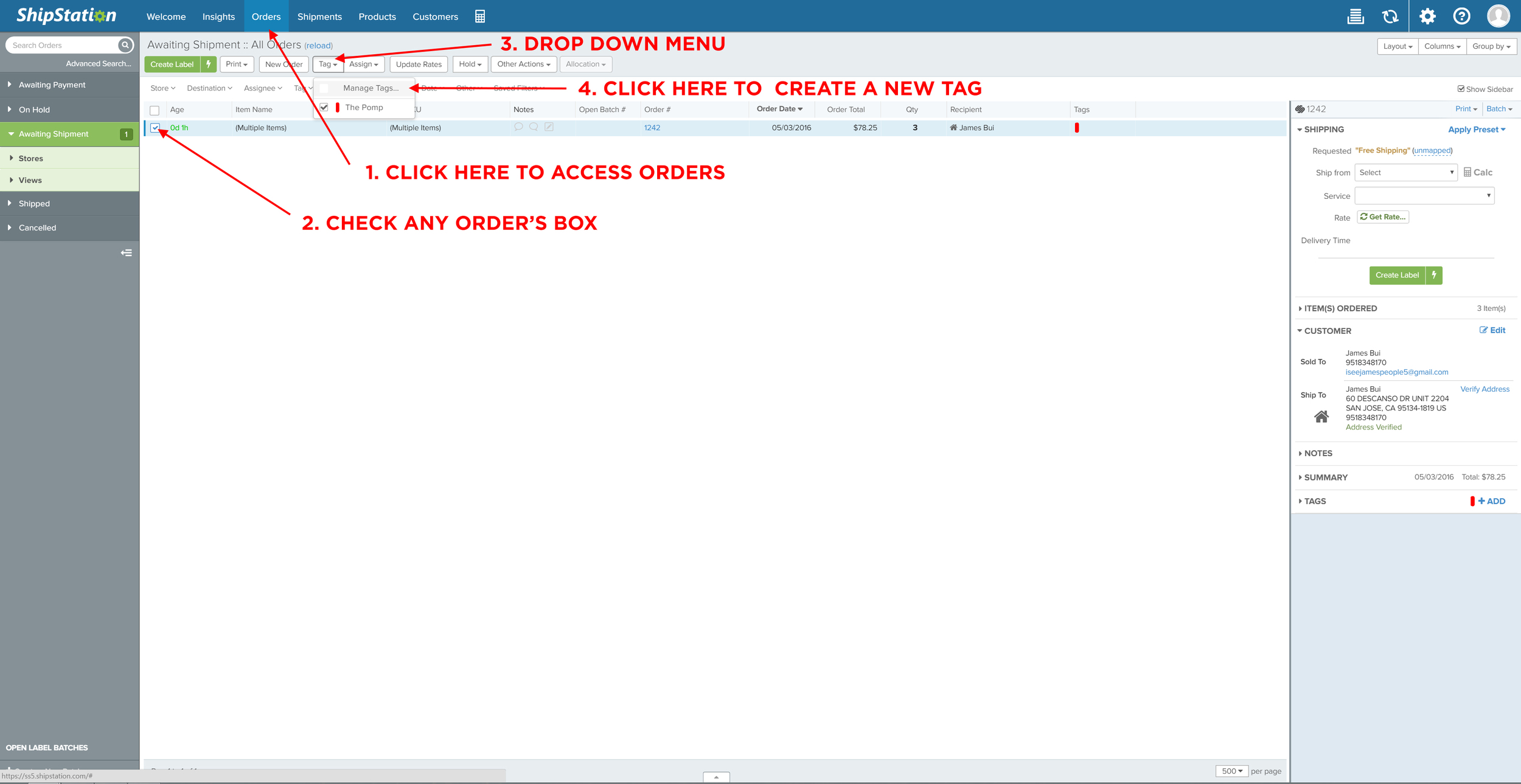 Creating a new colored tag to designate shared orders of multiple line items.