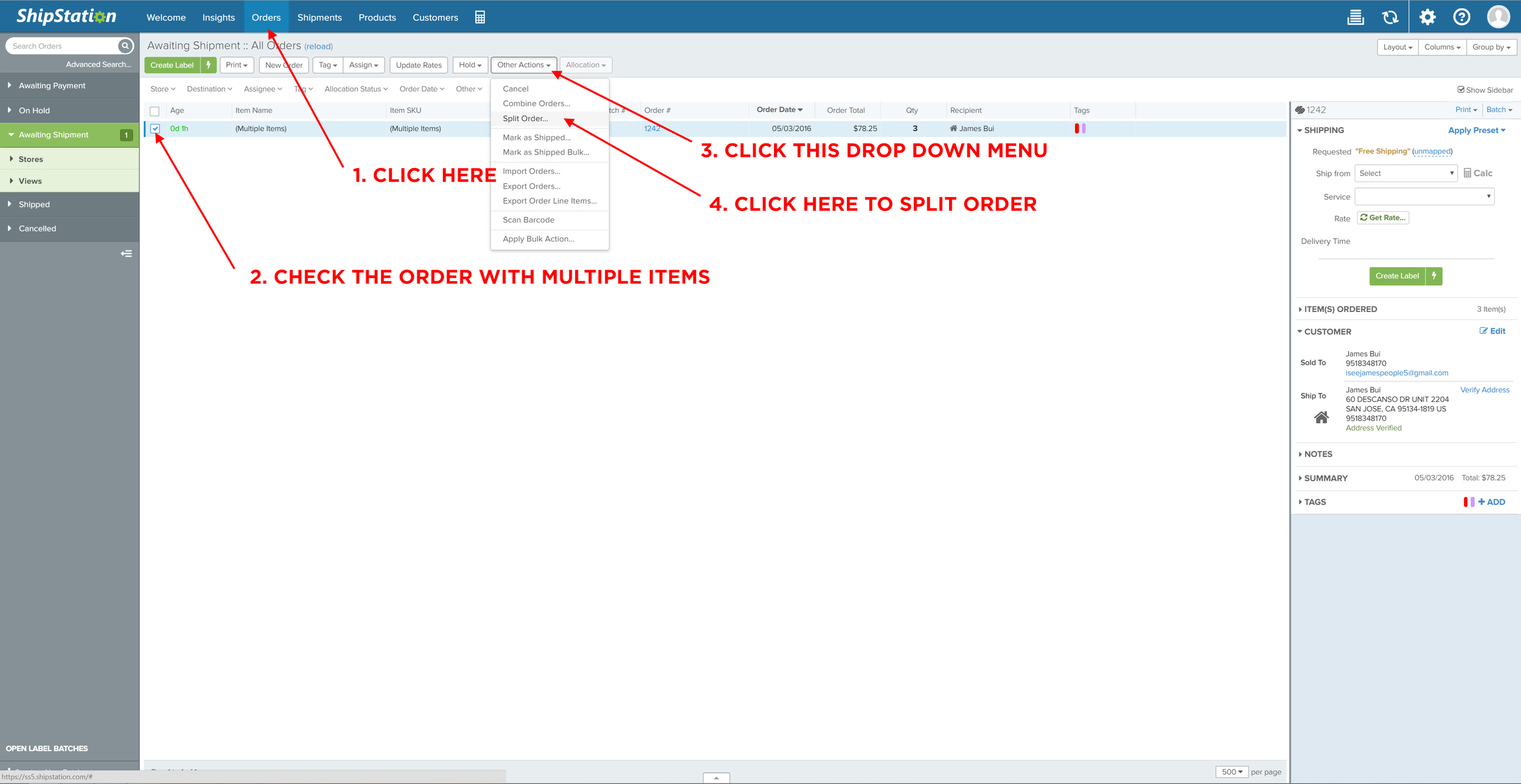 This shows you how to split orders.