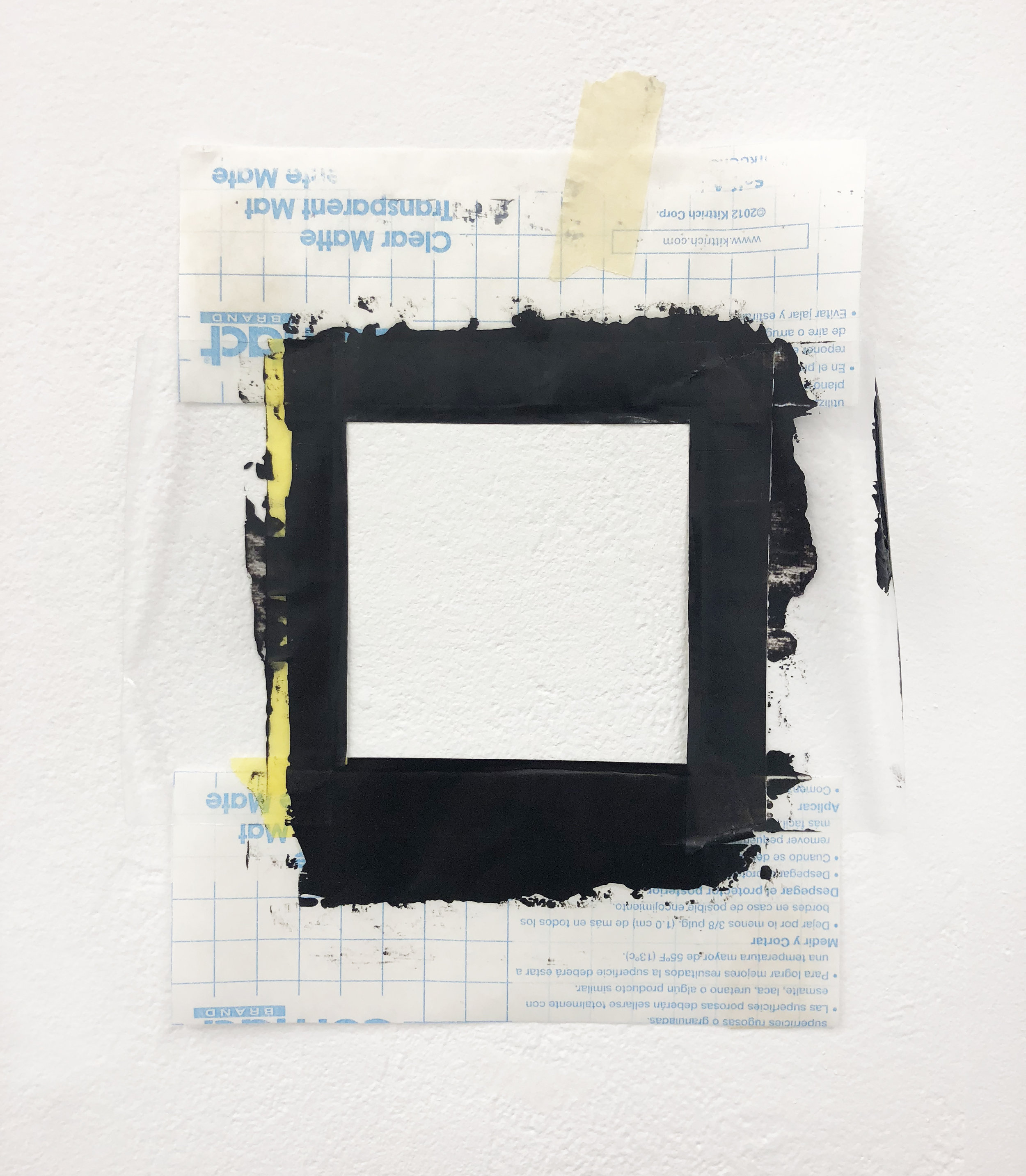 """Null  11"""" x 9.5"""" Oil on contact sheets and tapes 2018"""