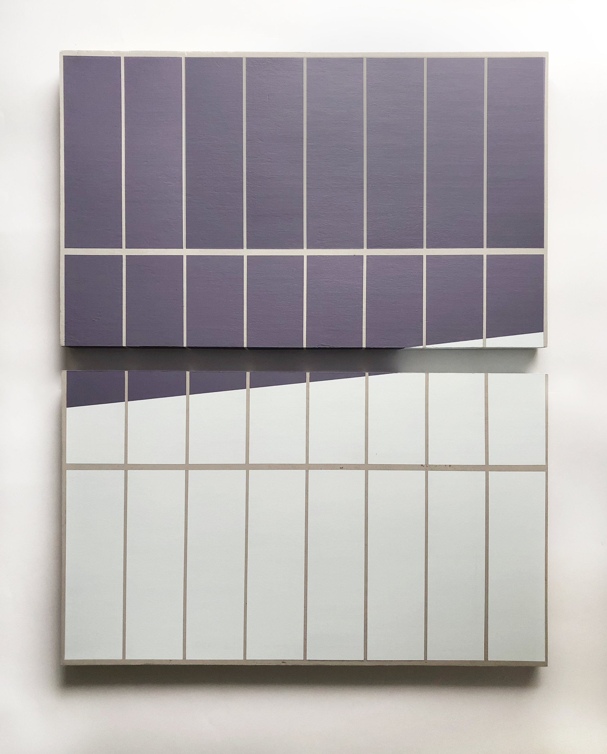 """Untitled (the purple shadow by the pool)  Each panel sized 18"""" x 30"""" Acrylic on wood panels 2018"""