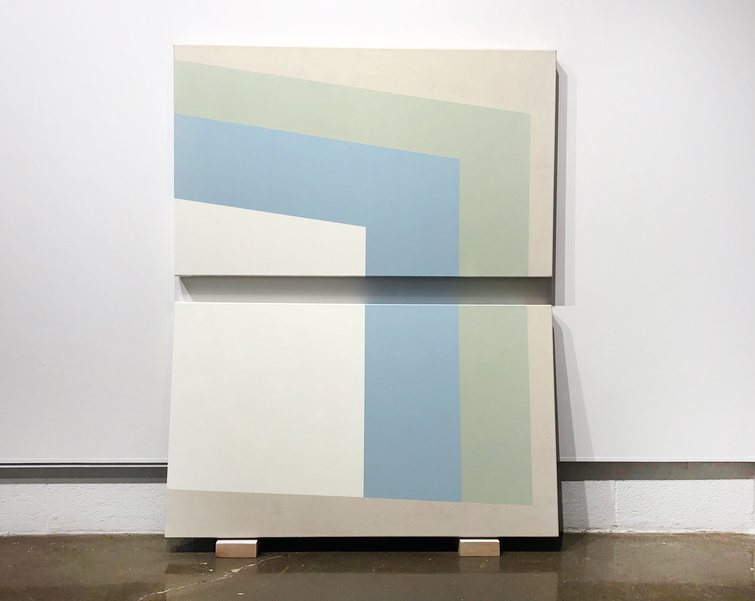 """Second Fold  Both canvases sized 24"""" x 40"""" Acrylic on canvases 2018"""