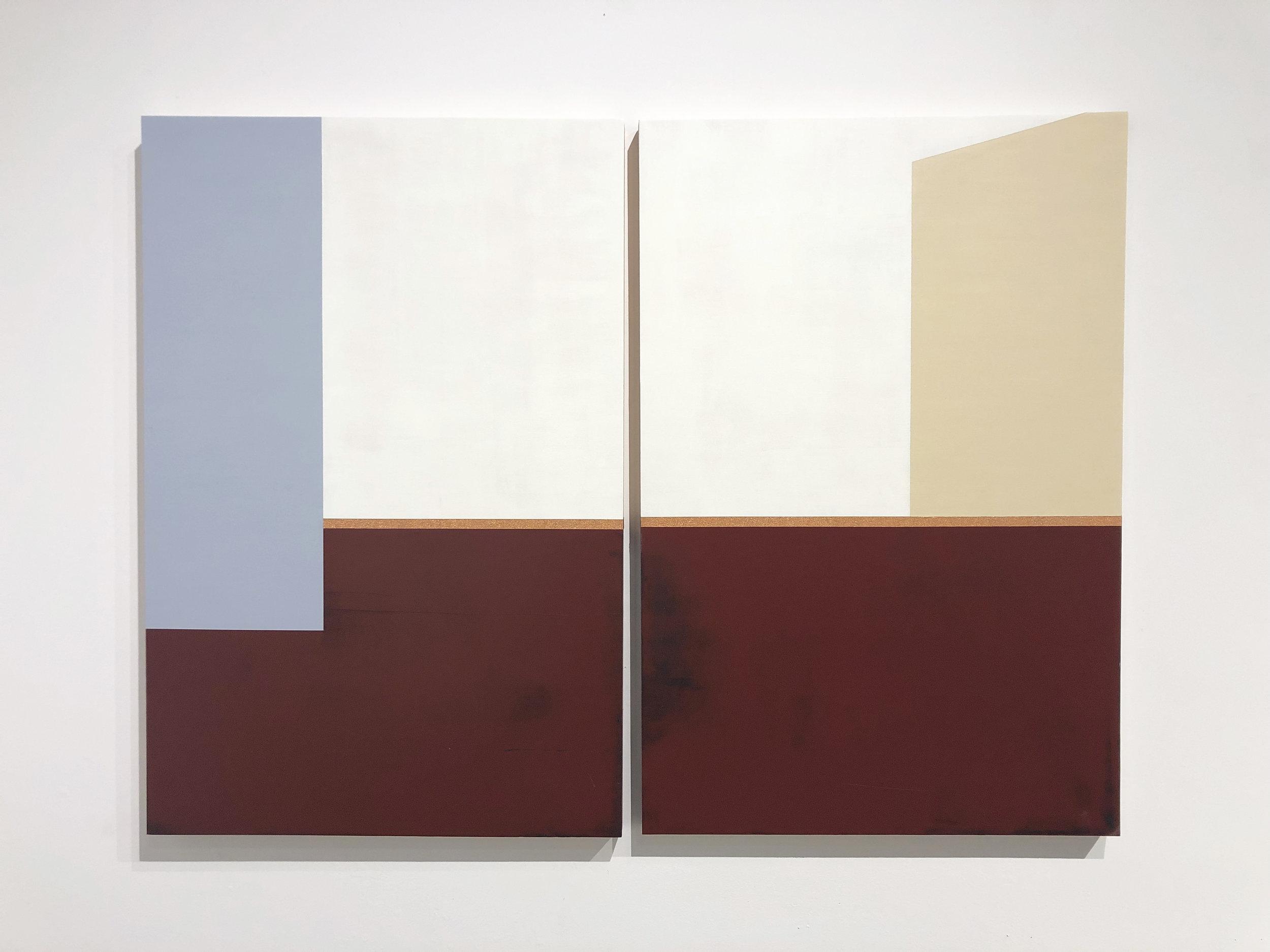 "Intimate Fragments  Each panels sized 36"" x 24"" Acrylic on wood panels 2018"