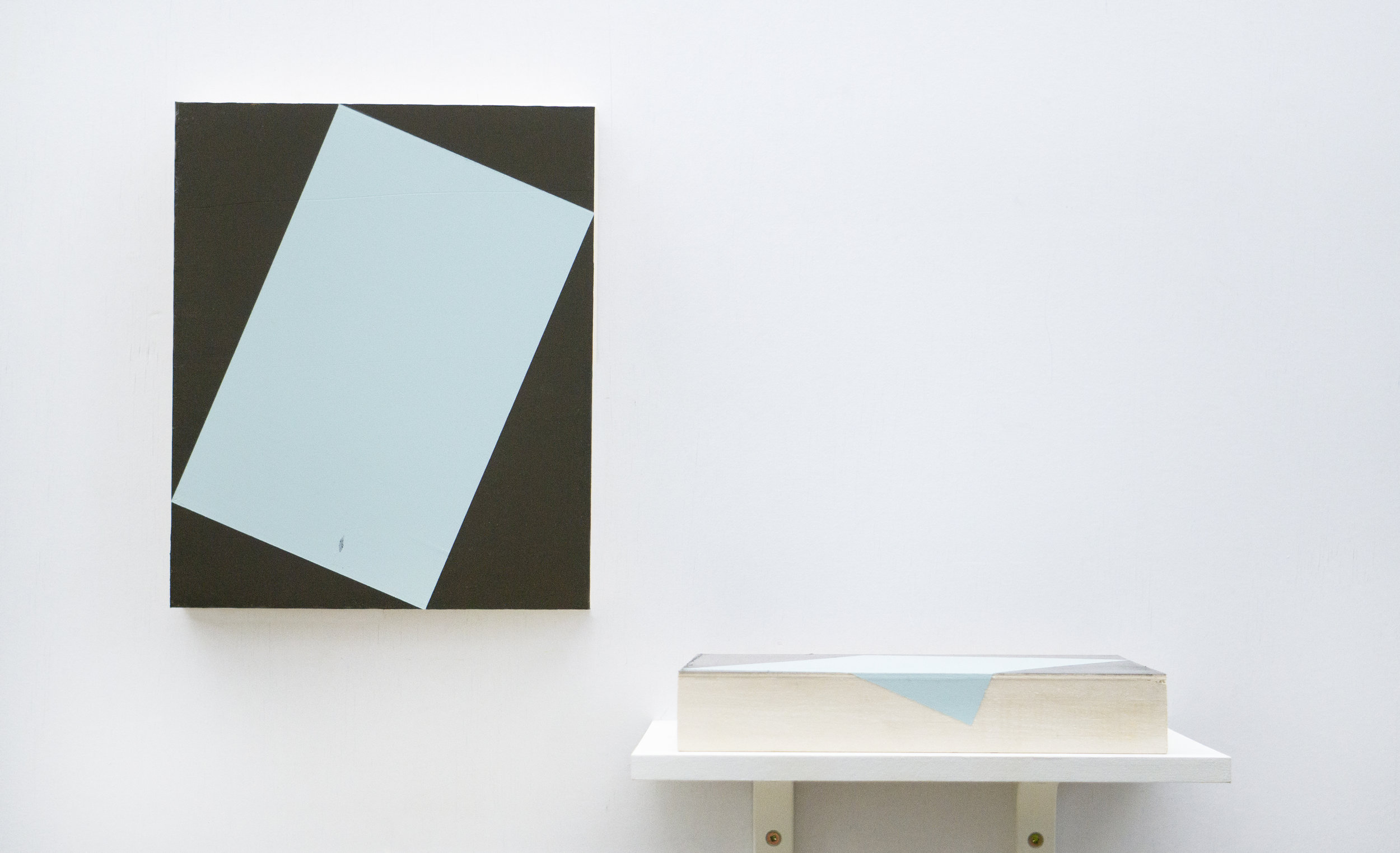 """2, 3  Left:  A Contained 3D Object  Right:  A Folded 2D Paper . Each panel sized 12"""" x 10"""" Acrylic on wood panels 2019"""