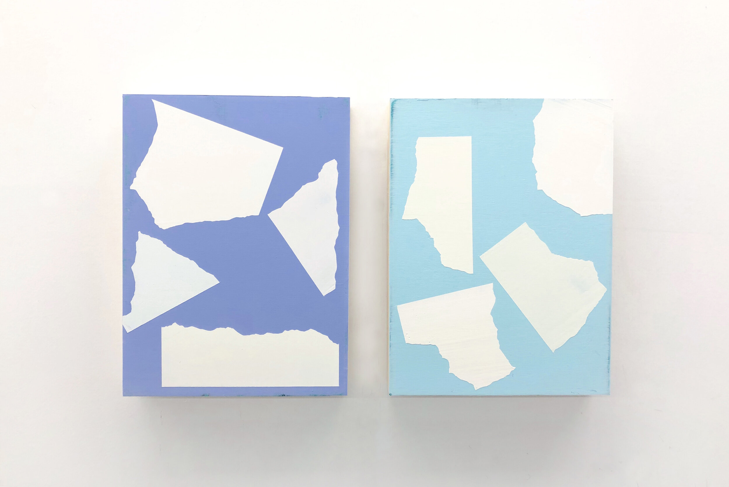 """A Piece of 7"""" by 7"""" Paper Torn Apart  Series 12"""" x 9"""" each Acrylic on wood panel 2019"""