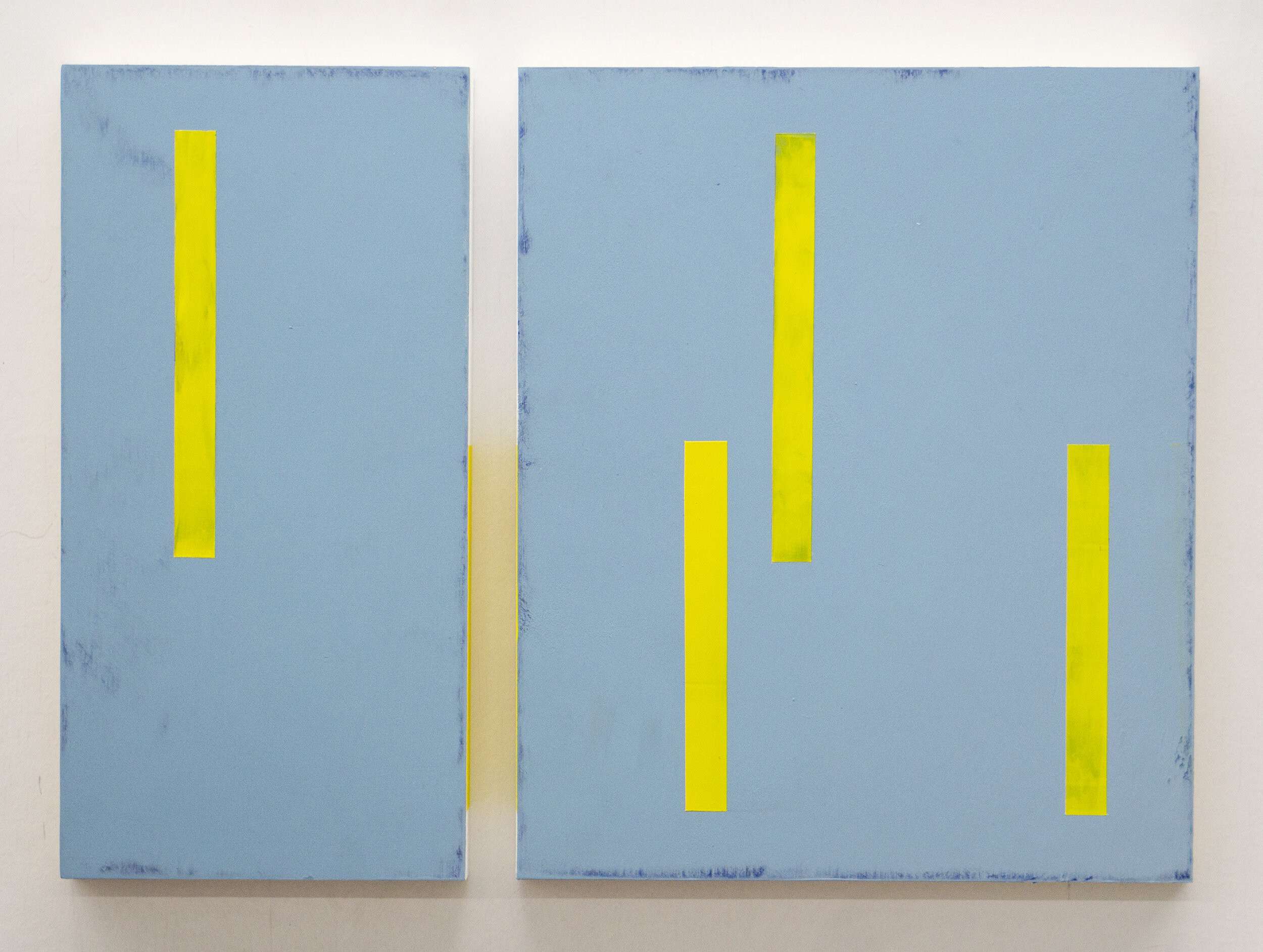 """3 or 4 or 5?  12"""" x 6"""" and 12"""" x 10"""" Acrylic on wood panels 2019"""