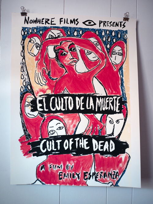 Screen printed & hand-painted 'EL CULTO' posters. Original illustration by Oaxacan artist, Raciel Esperanza.