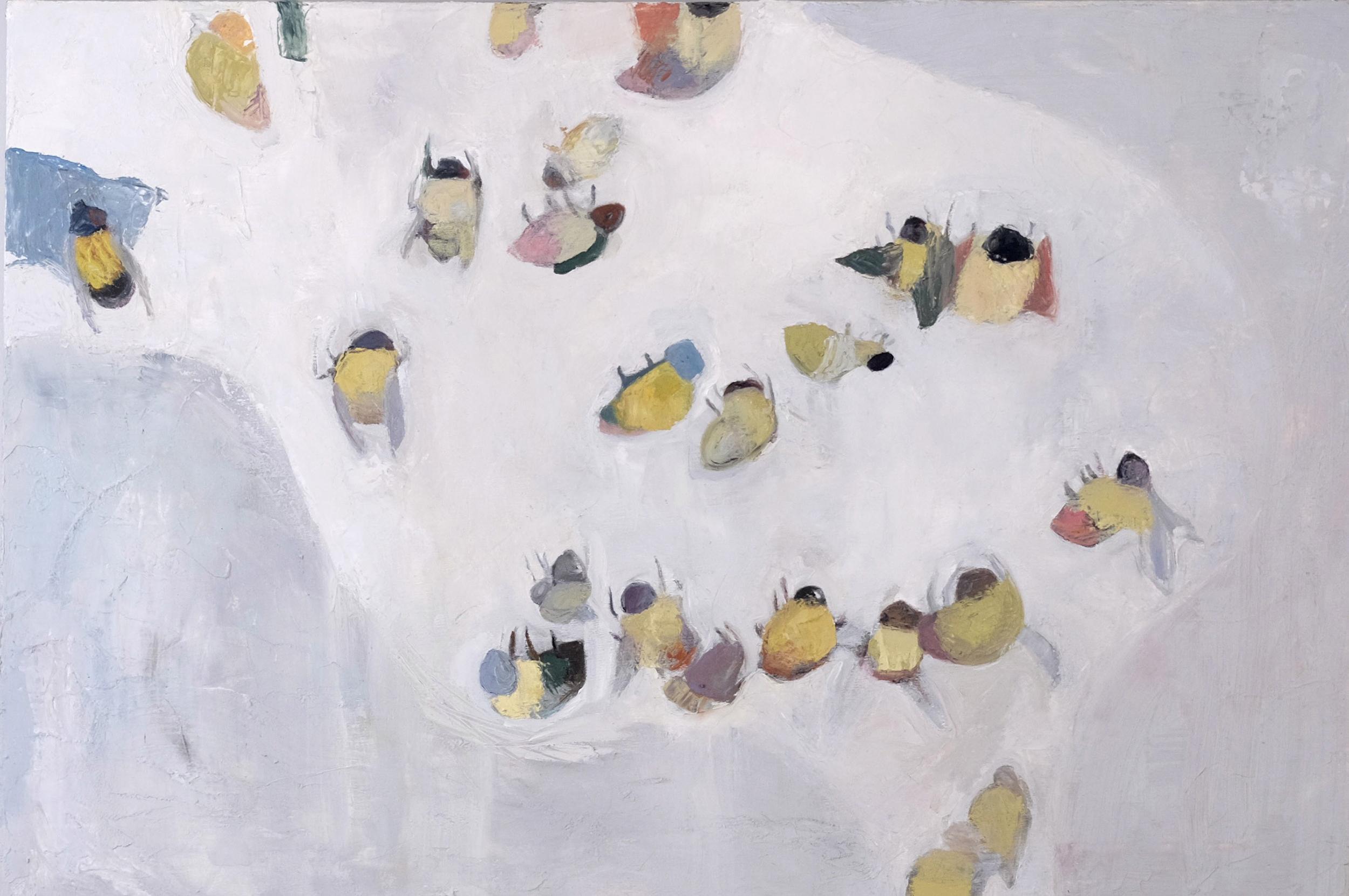 "Animalia I (Bees) , 48"" x 32"", oil and wax on canvas"