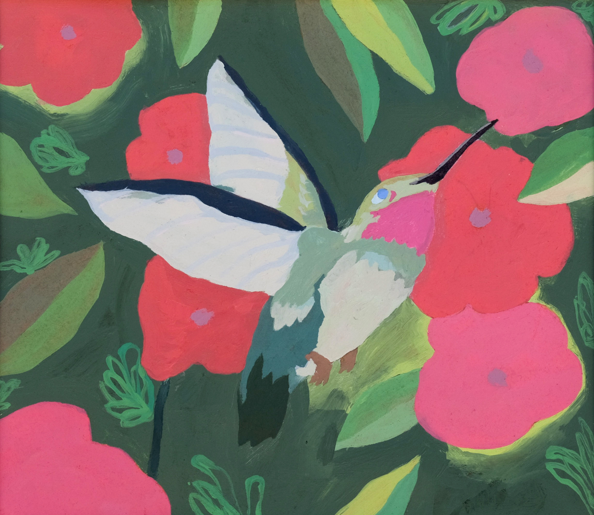 "Hummingbird with Red Flowers in Bloom,  5 1/4"" x 4 1/2"", acrylic on paper"