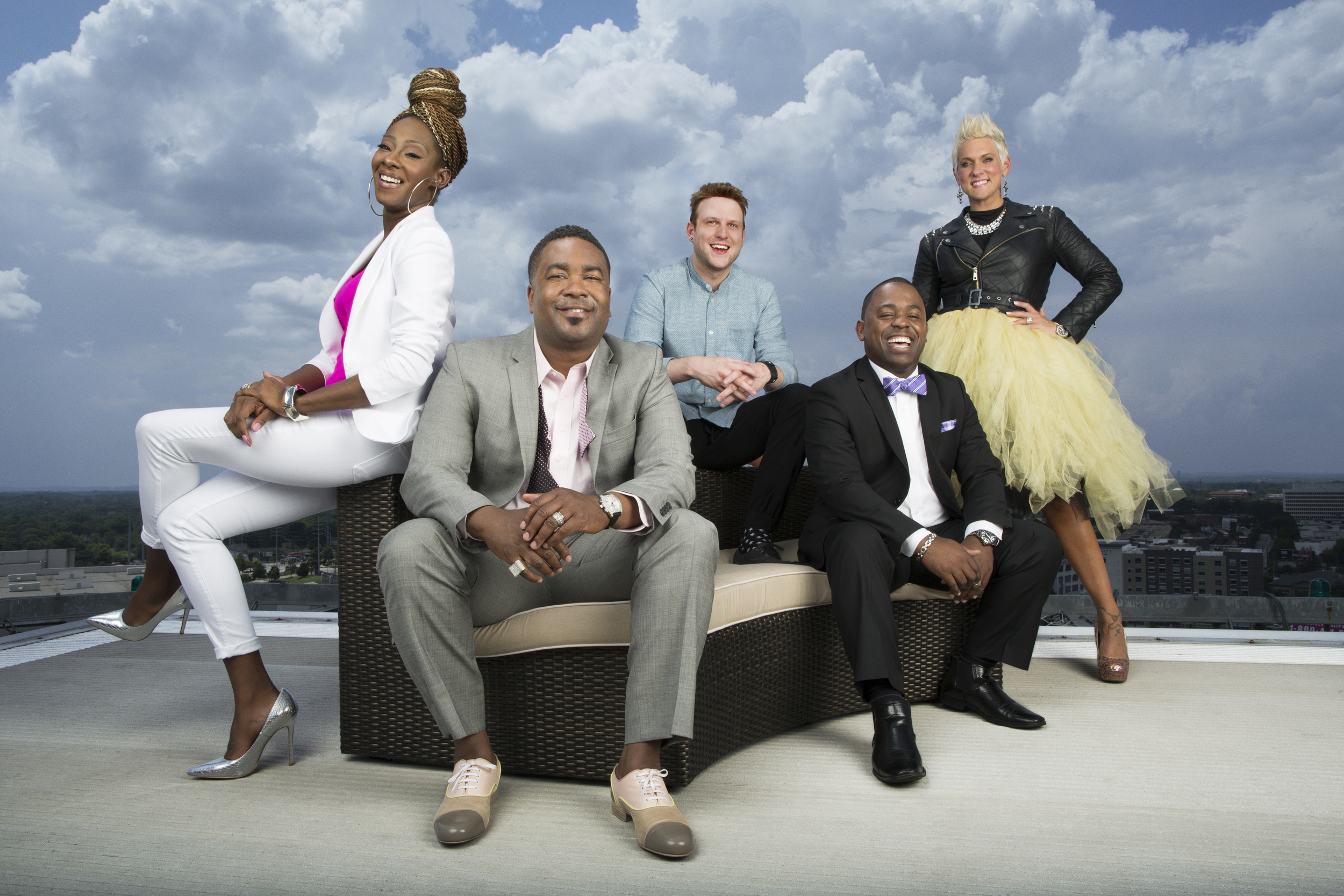 Preachers of Atlanta Cast: (L to R) Pastor Le'Andria Johnson, Pastor Canton Jones,   Pastor Judah Swilley,  Pastor Corey Hambrick, and Pastor Kimberly Jones-Pothier (Oxygen Media)