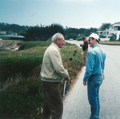 Lew on the rightdiscussing the Cypress Point Fault with John Logan on a previous MBGS field trip.