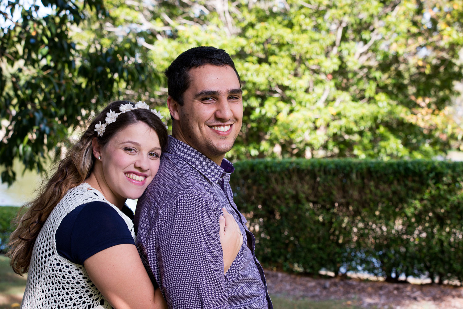 outdoor portrait of young married couple