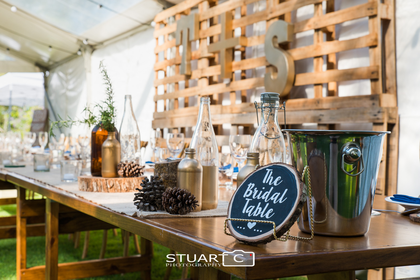 Preparation shot of bridal table decorations