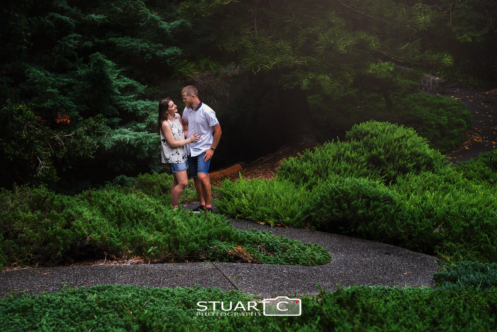 Wide portrait of Casey and Gary standing on a windy path in the middle of the conifer garden at Mt Cootha Botanical Gardens for their engagement photo session