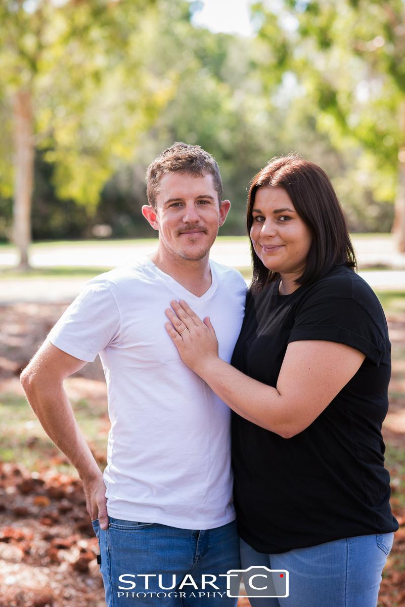 Portrait of couple standing in Clayton Park Briggs Avenue Beachmere